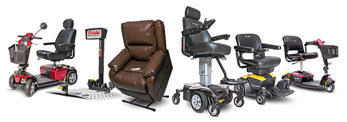 Pride Mobility Scooters, Pride Lifts, Pride Power Lift Recliners, Jazzy Power Chairs, Go-Chair, Go-Go Travel Mobility